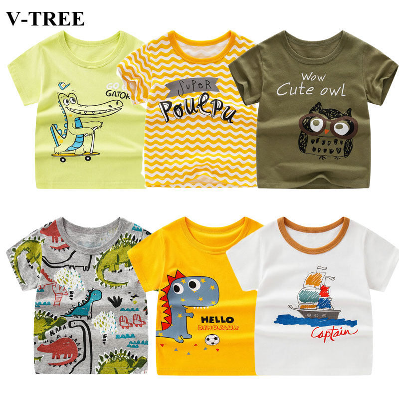 Summer Children T-shirt Cartoon Tops For Kids Short-sleeve Girls Shirts Cotton Boys Tees 2-10 Years Baby Outerwear Clothing