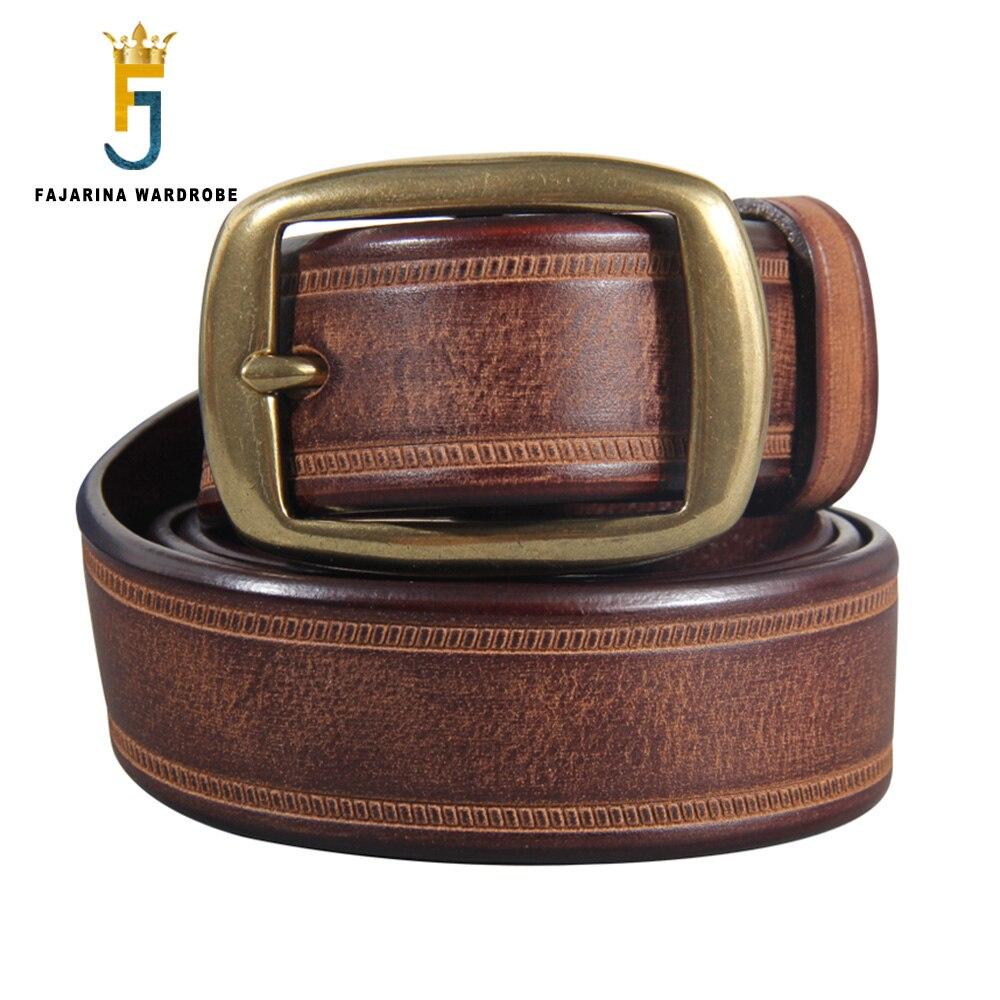 FAJARINA Top Quality Solid Pure Cow Skin Belts Men's Retro Cowhide Leather Brass Pin Buckle Metal Belt for Men 3.3cm N17FJ881
