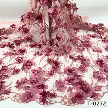 Beaded french African 3d flower lace embroidered fabric 2019 high quality Pink stones bridal tulle mesh Nigerian wedding laces