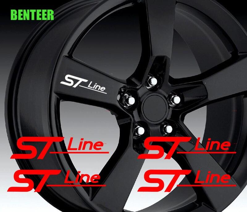 4 шт. ST STline автомобильные наклейки на колеса для Ford Fiesta Mondeo Fusion Escape Edge Ecosport Kuga