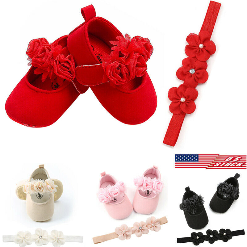 2Pcs Newborn Infant Baby Sneaker Girls Boys Lace Hook Soft Sole Prewalker Warm Shoes With Floral Headband