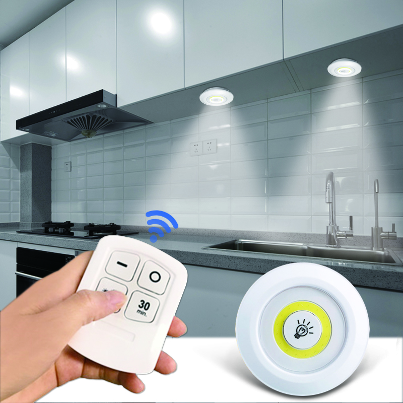 Dimmable LED Under Cabinet Light With Remote Control Battery Operated LED Closets Lights For Wardrobe Bedroom Bathroom Lighting