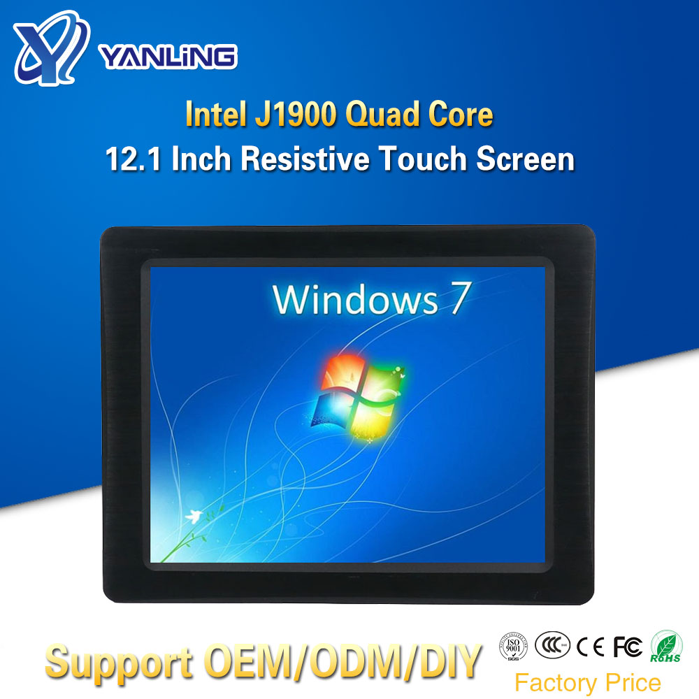Yanling 12.1 Inch All-in-one Computer Intel J1900 CPU Embedded SIM Slot Resistive LCD Screen Touch Panel PC With Aerial Plug