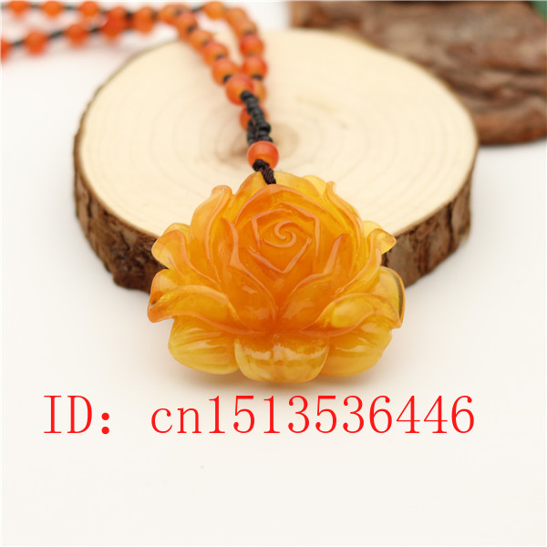 Yellow Amber Rose Pendant Fashion Flower Necklace Charm Jewellery  Lucky Amulet Gifts For Women Men