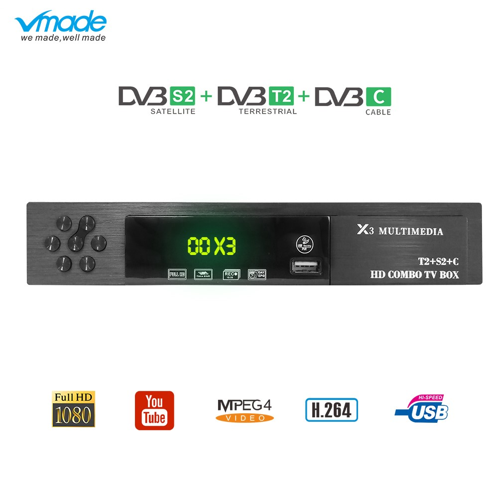 HD 1080p DVB-C DVB T2 DVB S2 Receptor Decoder Combo TV Tuner Wifi Satellite Receiver Cline Youtube Biss Terrestrial Iptv TV Box