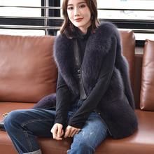 Vrouwen Luxe Lederen Gilet Winter Warm Echt Bont Vest Fashion Vest Fox Fur Lady Jassen S7906