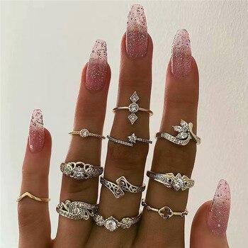 15 Pcs/set Women Fashion Rings Hearts Fatima Hands Virgin Mary Cross Leaf Hollow Geometric Crystal Ring Set Wedding Jewelry 17