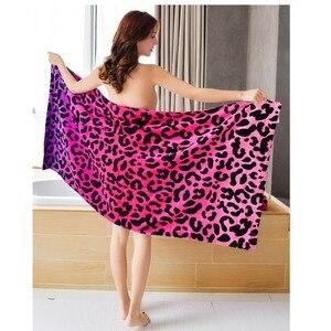 Image 1 - Moda Niña leopardo Toalla baño de diseño/Sexy Toalla de playa Mujer/76*160CM algodón secado toalla bañador de ducha el mejor regalo
