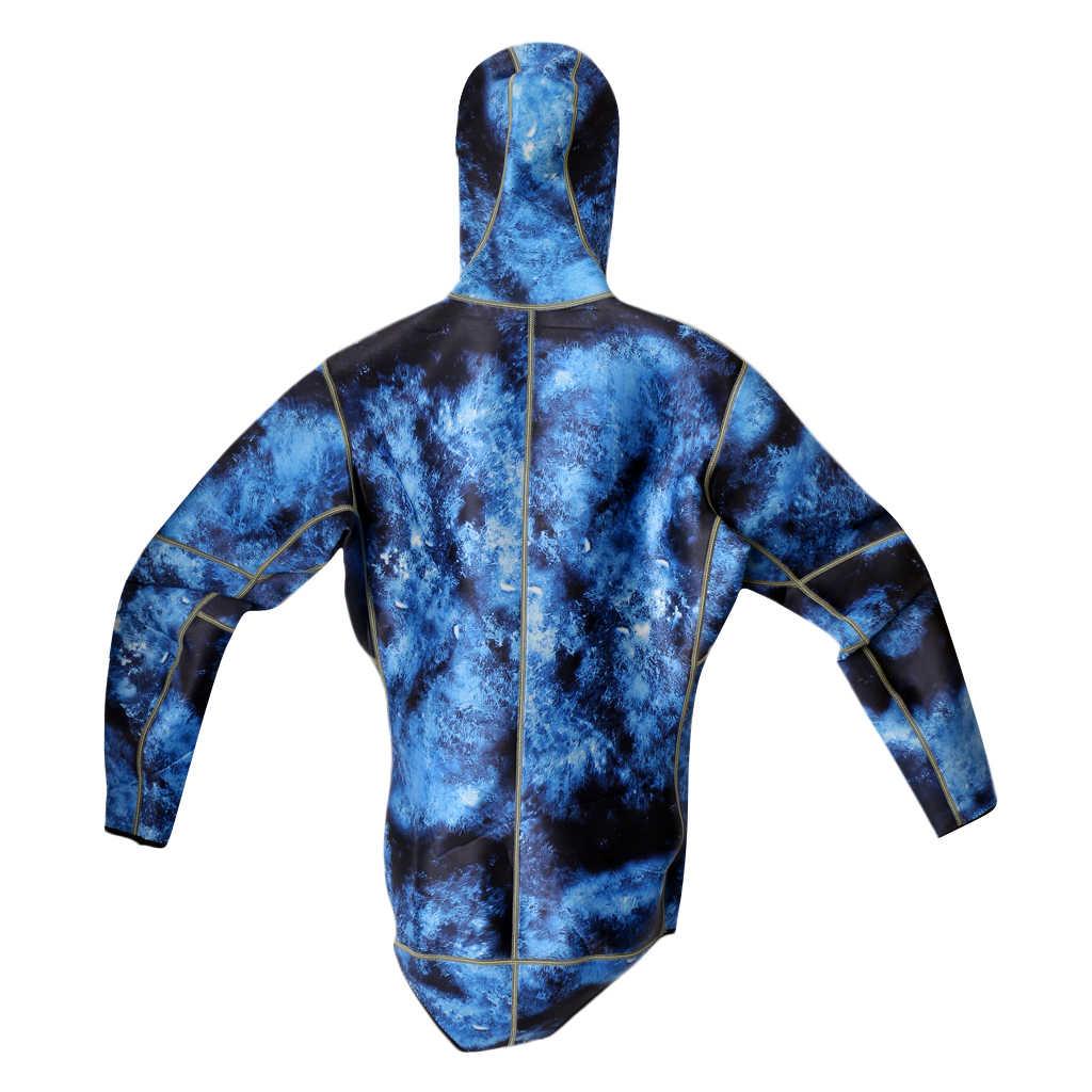 Kamuflaj Spearfishing Wetsuits erkek süper streç neopren atlama tüplü dalış sörf kıyafeti kapşonlu Hood 3mm 2 adet su Wetsuit
