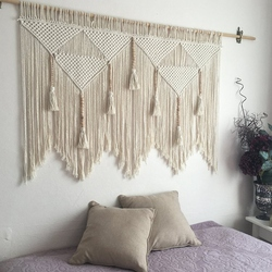 Makrama ścienna wisząca ręcznie tkana artystyczna  bawełniana lina makata boho Home Decor kremowo biała w Dekoracyjne gobeliny od Dom i ogród na