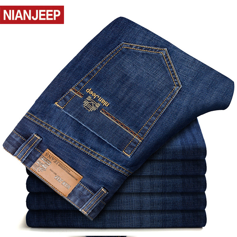 NIAN JEEP Brand Jeans Men's Jeans Autumn Male Jean Denim Smart Casual Cotton Solid Straight Jeans Hombre Top Quality Size 28-42
