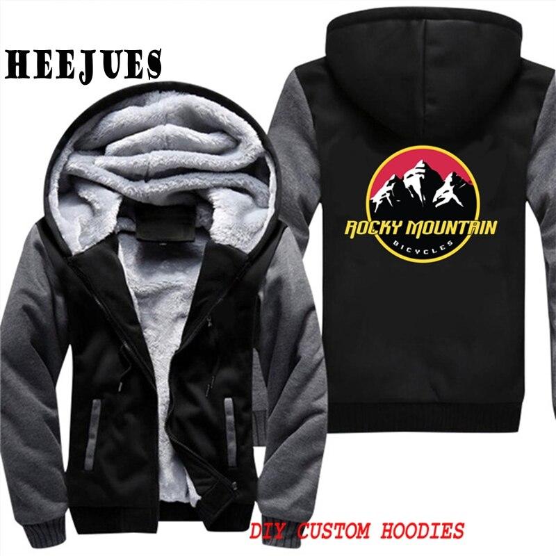 Off Rocky Mountain Rider Zip Up Mens Cotton Thick Winter Super Warm Fleece Sweatshirts Coats Jackets White