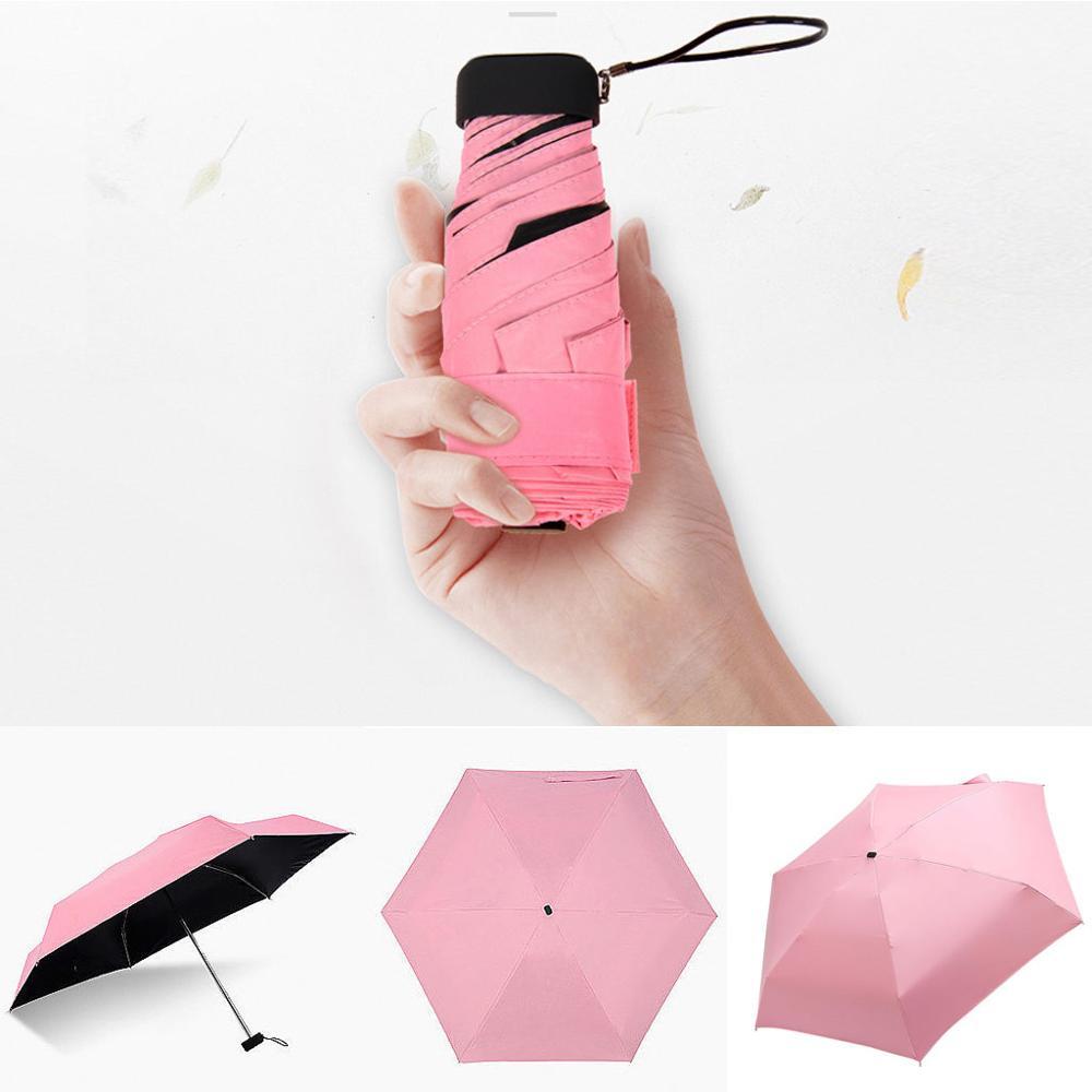 Мини-зонт, женский зонт, 5 раз, плоский светильник, Сумка с карманом и ультра-светильник, зонт, складной солнцезащитный зонтик, зонты Y1 - Цвет: Pink