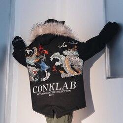 Новинка зимы, брендовый костюм в стиле хип-хоп, новый год, ограниченная серия, китайский дракон, хлопковый костюм, мужское Свободное пальто, ...