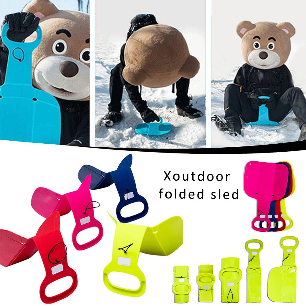 1pcs Newest Colorful Plastic Rubber Snow Sled Outdoor Folding Skiing Sled For Adults Children Winter Sports