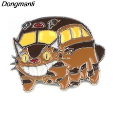 P3927 Dongmanli Fashion Jewelry The Cat Bus Metal Enamel Pins and Brooches for Lapel Pin Backpack Bags Badge Gifts