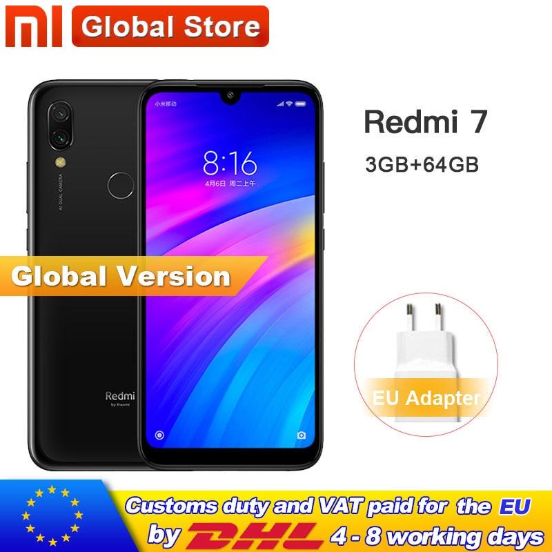 Global version Xiaomi Redmi 7 3GB 64GB Smartphone Snapdragon 632 Octa Core 12+2MP Dual Camera phone 4000mAh 6.26'' Full screen