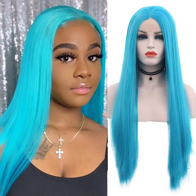 AIMEYA Sky Blue Silky Straight Synthetic Wigs Middle Part Lace Front Wigs for Women Heat Resistant Daily Wear Makeup Hair Wigs