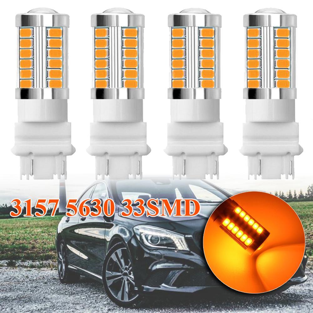 4pcs 3157 3457 3057 12V-24V Amber Car RV Motorcycle 33SMD LED Backup Reverse Tail Brake Stop Turn Signal Light Bulb