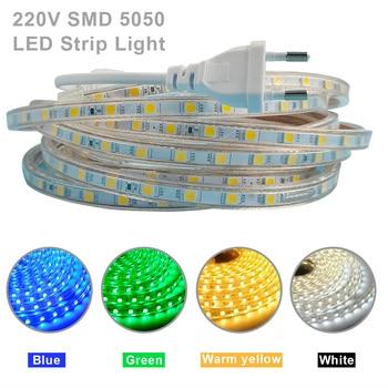 цена на Waterproof SMD 5050 AC 220V LED Strip Outdoor 220V 5050 220 V LED Strip 220V SMD 5050 LED Strip Light 1M 2M 5M 10M with EU plug