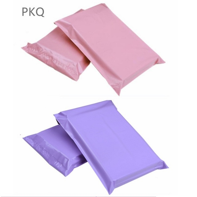100pcs 17*30cm Pink Poly Shipping Mailers Purple Plastic Envelope Yellow Bag Blue Mailing Packing Package