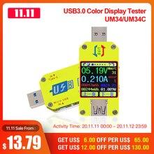 RD UM34 UM34C für APP USB 3,0 Typ C DC Voltmeter amperemeter spannung strom meter batterie ladung messen kabel widerstand Tester