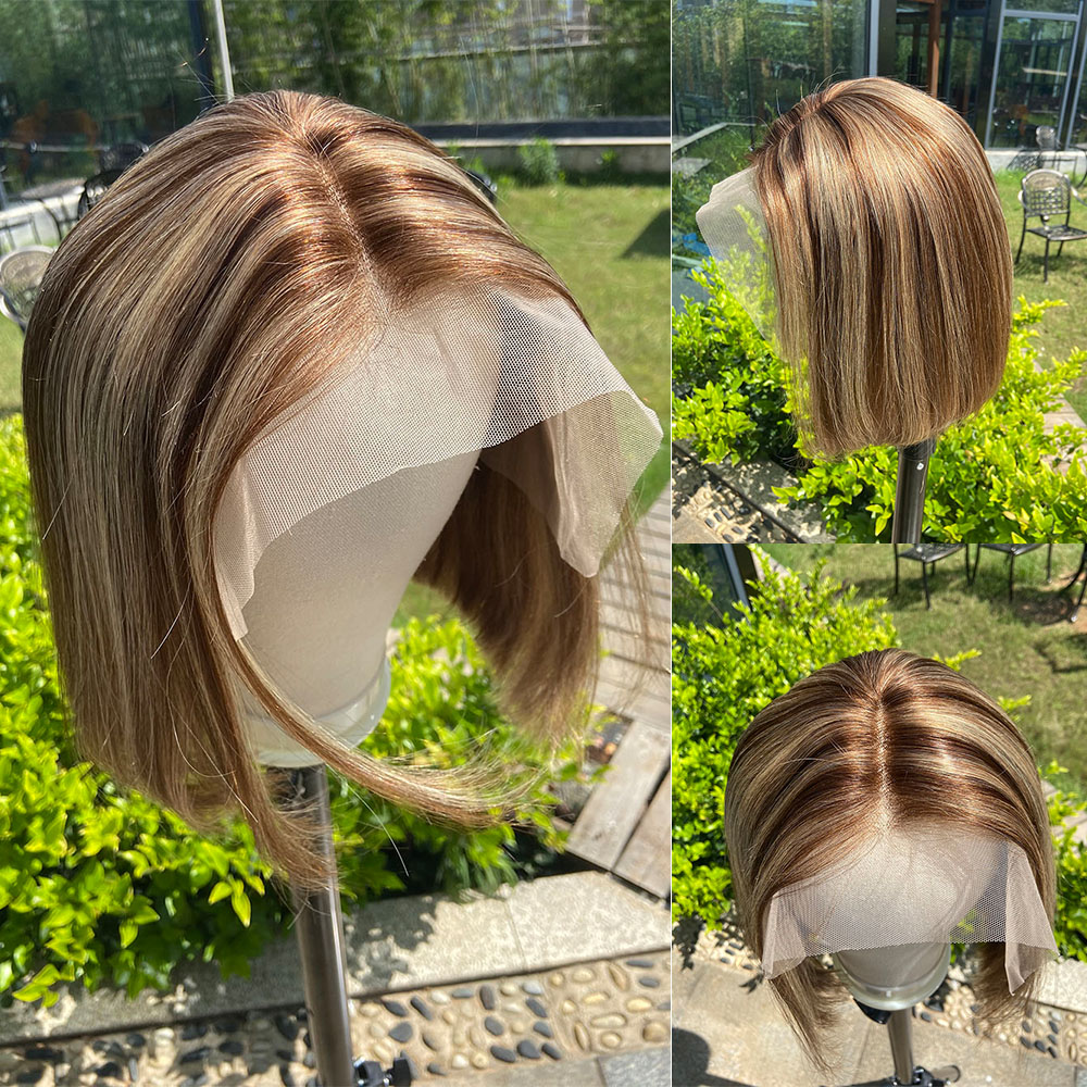 Loviness Highlight Short Bob Balayage U Part Blonde Honey Brown Cheap Ombre Lace Front Human Hair Wig For Women Remy Virgin Hair