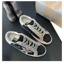 2021 nova coreia do sul afligido preto glitter estrelas sapatos sujos homem e mulher tênis de couro com aumento sapatos planos