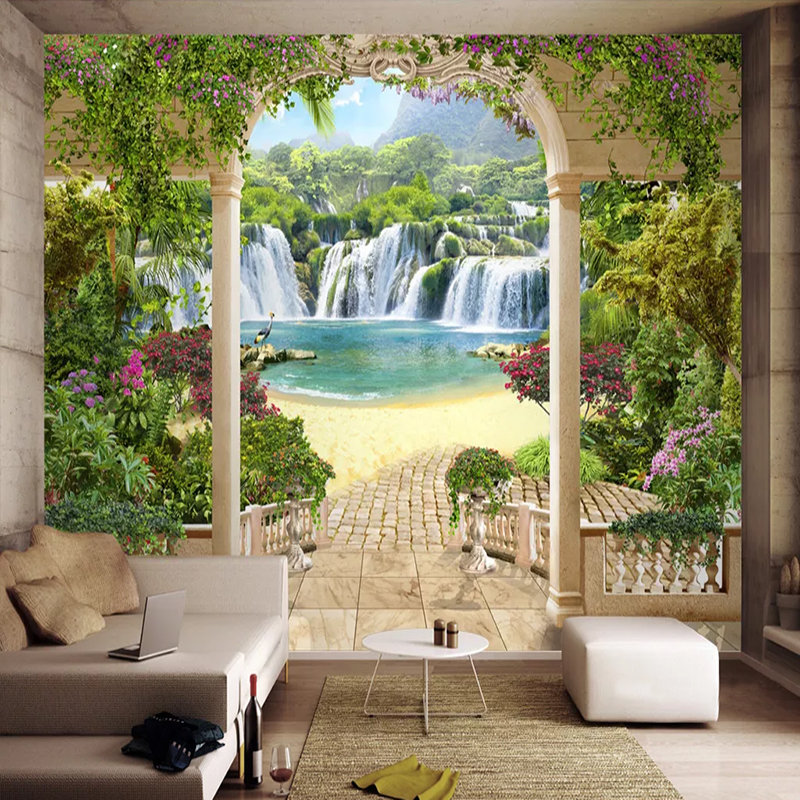 Custom Wall Cloth Garden Balcony Waterfall Landscape Photo Mural Wallpaper Living Room TV Background Wall Sticker Wall Painting