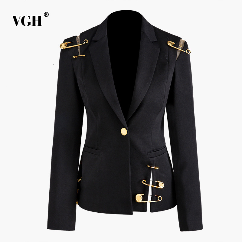 VGH Patchwork Pins Hollow Out Women's Blazer Notched Long Sleeve Slim Asymmetrical Autumn Female Suits 2019 Fashion Clothing New