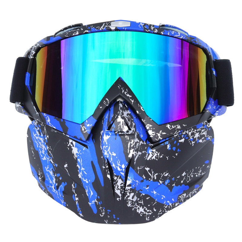 Motorcycle Goggle Mask Windproof Detachable Glasses with Mask for Riding Skiing Snowmobile Cycling Halloween Blue+Black