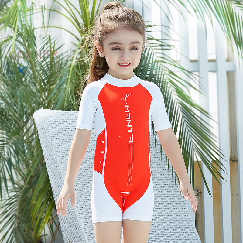 2018 New Style One-piece KID'S Swimwear Men And Women Children Swimwear Children Tour Bathing Suit Sun-resistant Short Sleeve Qu