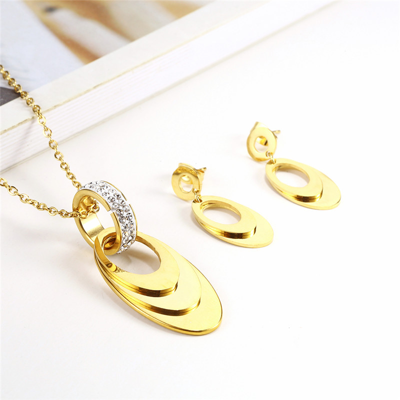 OUFEI Stainless Steel Jewelry Sets Necklace Set Of Earrings For Women Jewellery Accessories Charm Earring Female Free Shiping