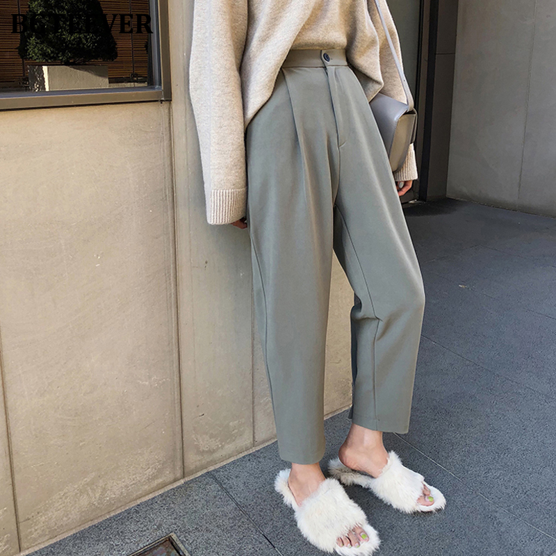 BGTEEVER Plus Size High Waist Button Suit Pants Women Casual Loose Harem Pants 2020 Spring Female Trousers Pantalon Mujer