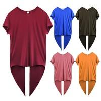 Women Round Collar Summer Solid Color Irregular Short Sleeve Casual Simple Wild T Shirt