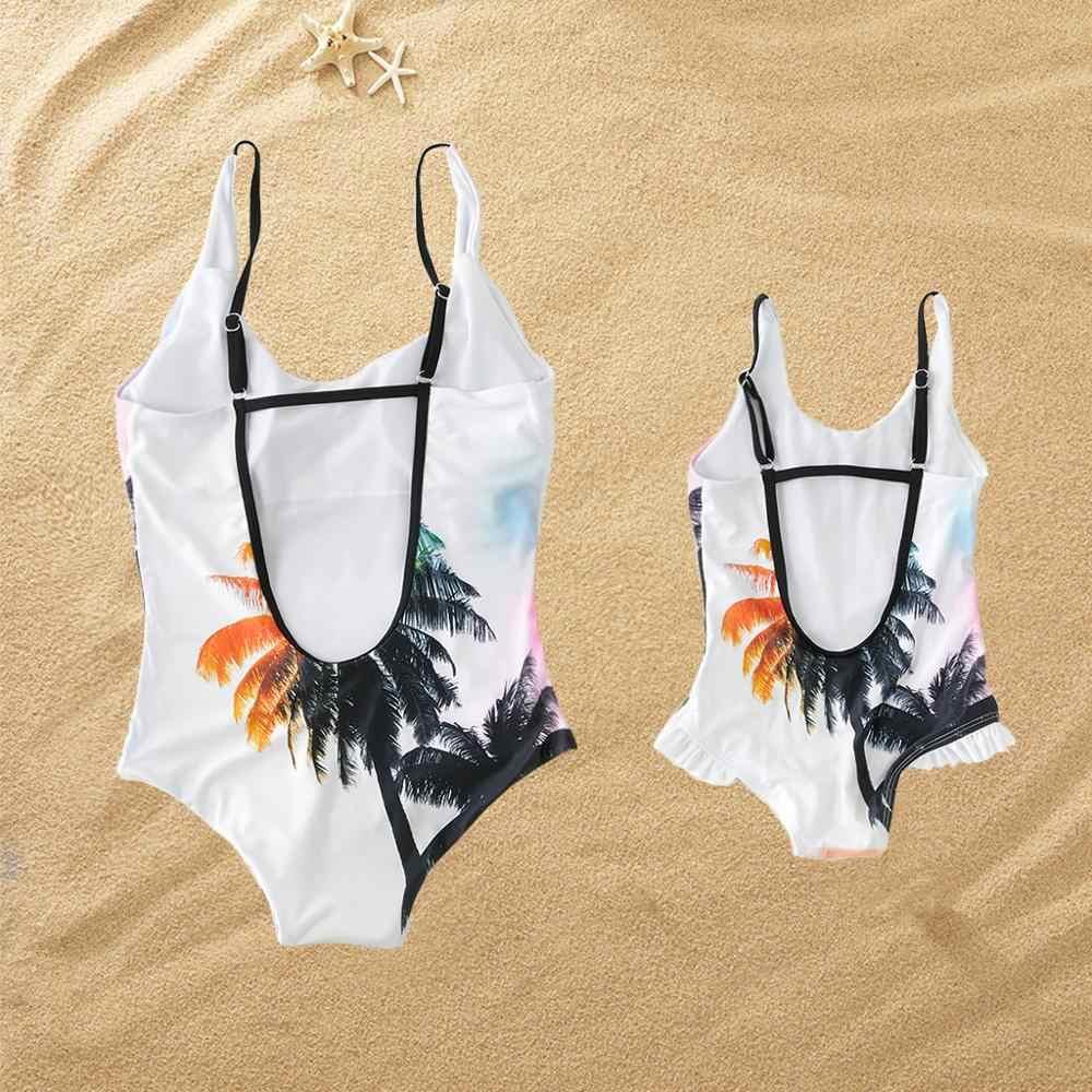 PatPat 2020 ฤดูร้อน Mommy และ Me Sunset Tree ชุดว่ายน้ำการจับคู่ชุดชุดว่ายน้ำ