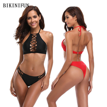New Hollow Bikini Women Swimsuit Strappy Braided Swimwear High Neck Halter Backless Bathing Suit S-XL Girl Solid Mini Bikini Set