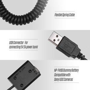 Image 2 - Andoer 5V USB NP FW50 Dummy סוללות מצמד מתאם עם גמיש אביב כבל עבור Sony A7 A7II A7R A7S a7RII הכשרת היישוב מצלמה