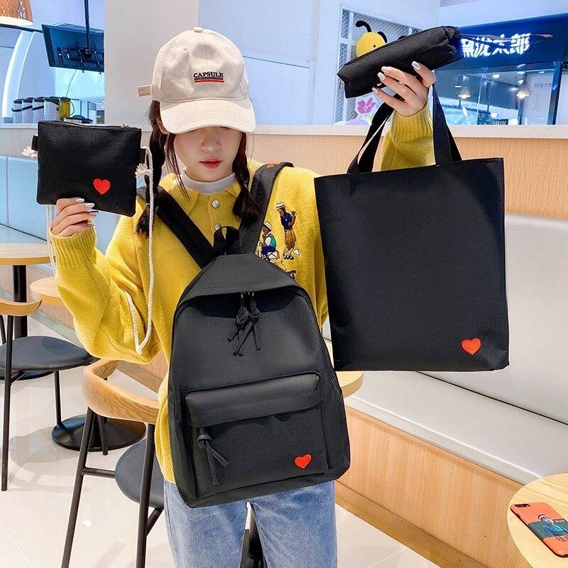 4set Backpack For Teenage Girls Kids Children Student Women Backpack Booksbag Teen Shoulder Bag Child Schoolbag Mochilas FemaleBackpacks   -
