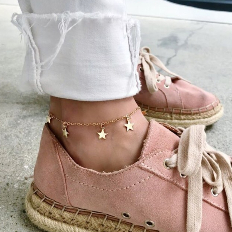 Delicate gold filled chain anklet with stars charms, gold star charms anklet bracelet, woman foot bracelet