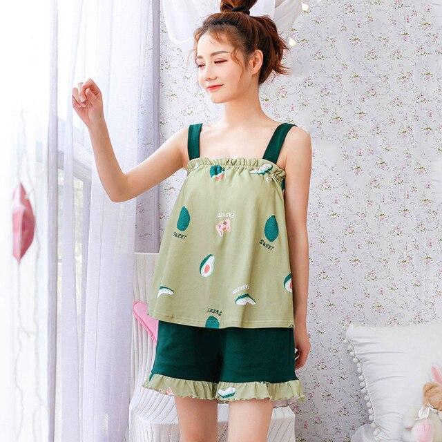 Pyjama ensembles femmes sans manches à bretelles volants réglable rembourré vêtements de nuit doux filles coton confortable ample décontracté à la mode doux