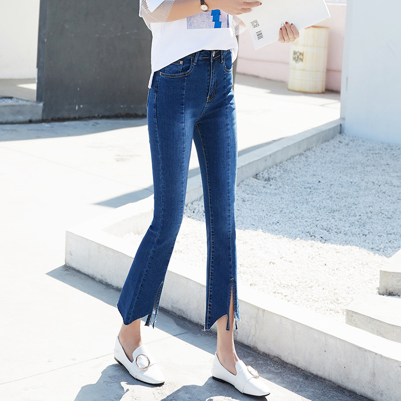 New Style Women's Capri Jeans Women's Korean-style Slim Fit High-waisted Belly Holding Front And Back Slit Weila Pants Fashion H