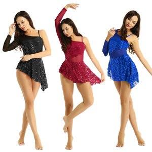 Image 2 - Women Sequin Asymmetric Lyrical dance dress Single Long Sleeve Shiny Leotard Ballet Dance Dress for Lyrical Modern Contemporary
