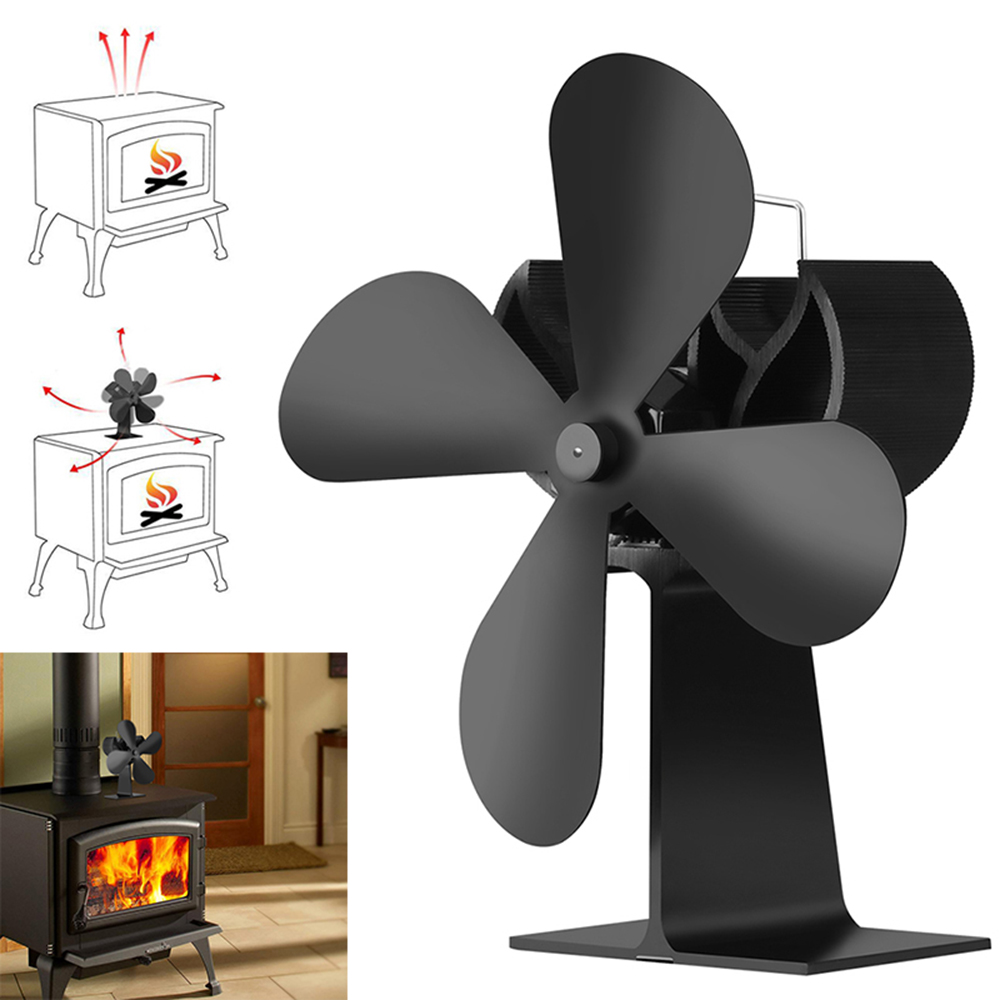 Black 4 Blade Heat Powered Stove Fan For Wood Fireplaces Eco- Friendly Mute Fireplace Fan Efficient Heat Distribution