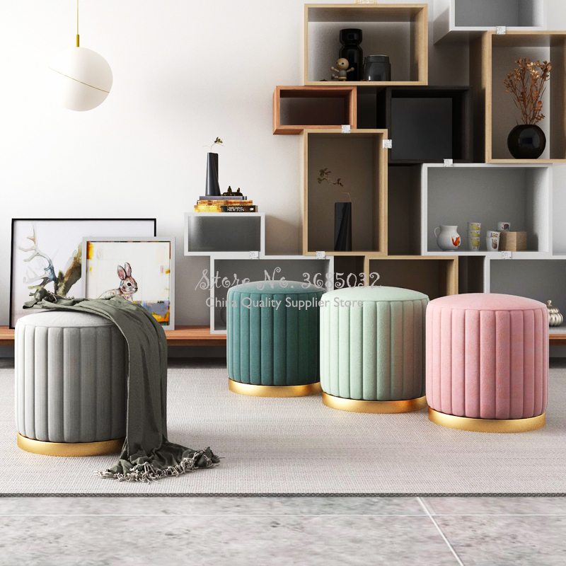 Luxury Nordic Fabric Macaron Color Dressing Stool  Change Shoes Small Sofa Fashion Living Room 45*38cm