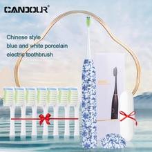 Cepillo de dientes eléctrico sónico de cerámica, recargable por USB, con 8 cabezales, resistente al agua, color azul y blanco, estilo chino, IPX8