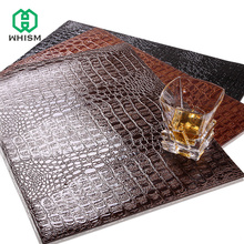WHISM Placemat PU Leather Mat Insulation Pad Decorative Tablemat Coaster European Crocodile Pattern Mat for Kitchen Dining Table