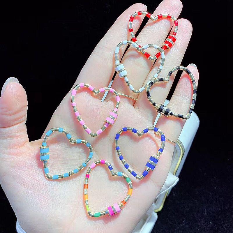 5 шт, Радужный цвет в форме сердца эмаль Винт Застежка модные ювелирные изделия застежка, аксессуары