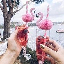 Canudos de flamingo 3d, papel da selva, canudos de verão para festas, decoração de casamento, adulto, rosa e azul, peças canudos de flamingo