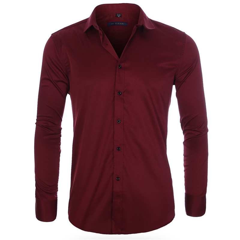 Helisopus New Men Shirt Bamboo Cotton Fiber Shirts Fashion Casual Slim Fit Long Sleeve Solid Shirt For Men Color Streetwear